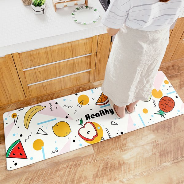 Cross-border cartoon Japanese-style home wear non-slip mats Home waterproof and oil-proof long strip PVC leather kitchen mats