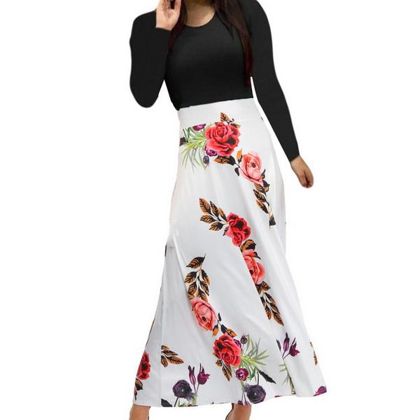 Festival de primavera y otoño de 2019. Venden faldas y faldas de flores de manga larga con edición explosiva para mujer