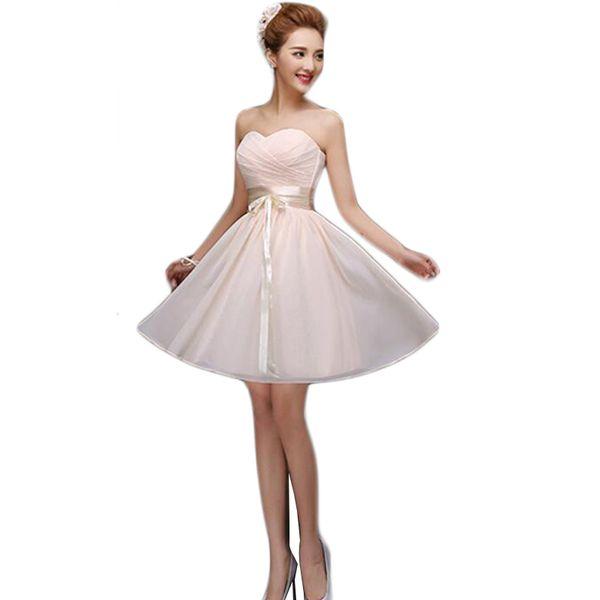 Vestido De Festa De Casamento 2016 Champagne vestidos de dama de honor de gasa sin tirantes del banquete de boda vestido corto vestidos de la hermana