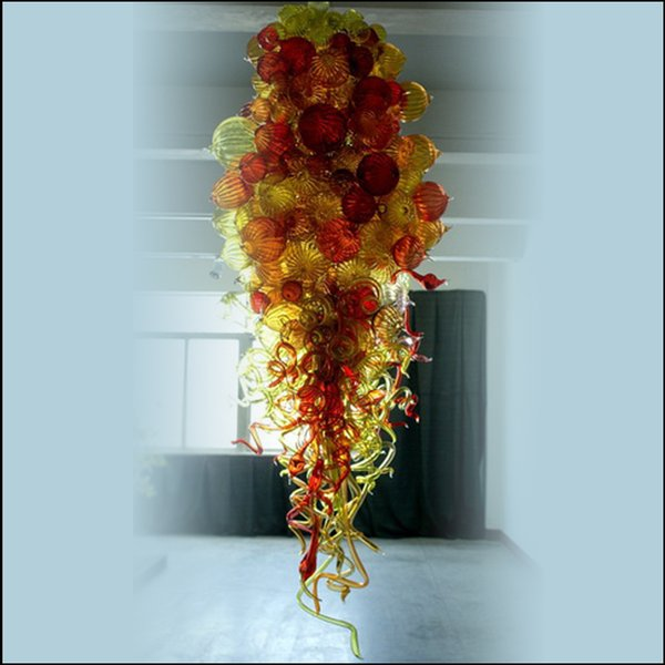 Lustre Zhongshan Manufacturer Mouth Blown Glass Chandelier Lightings Flower Designed Blown Glass Chain Pendant Lamps for Wedding Decor