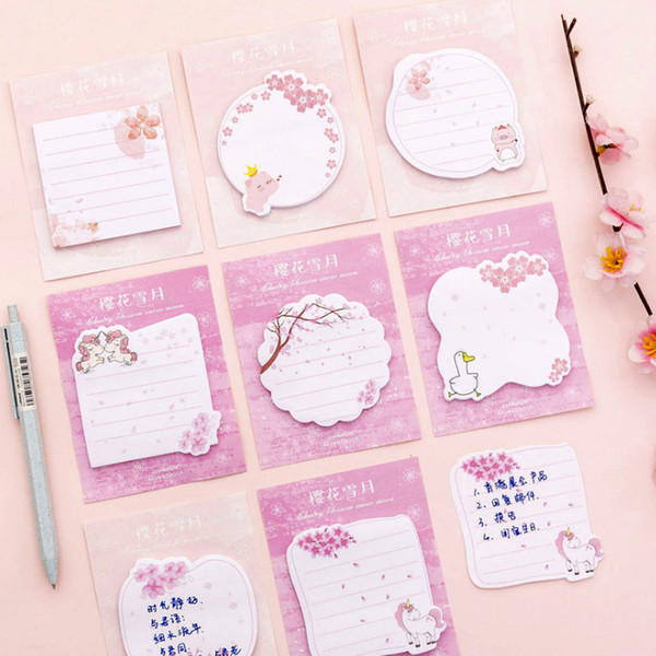 best selling Hot sale cartoon Unicorn sticky memo pads Flamingo Duck Pig Sakura N times sticky notes school office supplies stationery agenda stickers