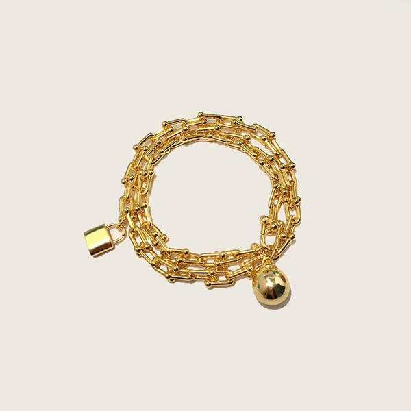 Нержавеющая сталь позолоченные мяч и замки цепи браслеты для женщин новое поступление горячие продажи новых роскошных ювелирных изделий
