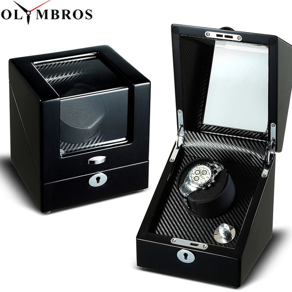 Single Watch Winders Wooden Lacquer Piano Glossy Black Carbon Fiber Quiet Motor Storage Display Watches Box EU/US Plug
