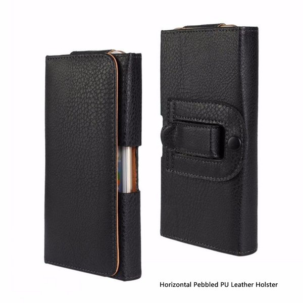 Universal Smooth and Pebbled PU Leather Holster Flip Case Waist Bag Pouch Belt Clip Magnetic Closure for Cell Phones-Horizontal and Vertical