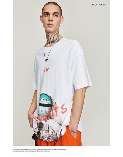 Abbigliamento uomo INF | 2019 primavera e l'estate nuova marea t-shirt a maniche corte t-shirt da uomo a maniche corte stampa astronauta oversize