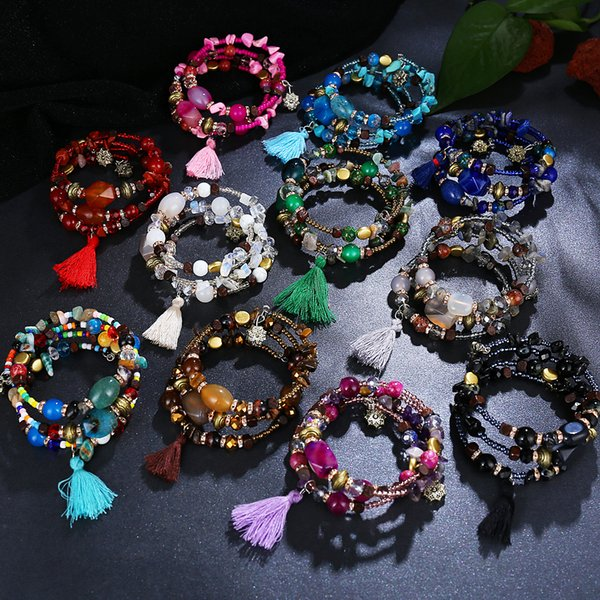 201908 Bohemian Bracelet Multilayer Handmade Beads String Bangle Charm Irregular Stone Beads Bracelets Women Jewelry Gift 12 Styles M304R F