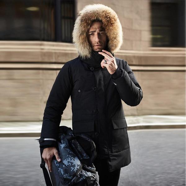 TEAEGG Yüksek Kalite Siyah Erkekler Kış Ceket Ördek moda sıcak Aşağı Ceket doğal Rakun Kürk Erkek Kış Parka Ile Kürk Kaput Artı Boyutu AL507