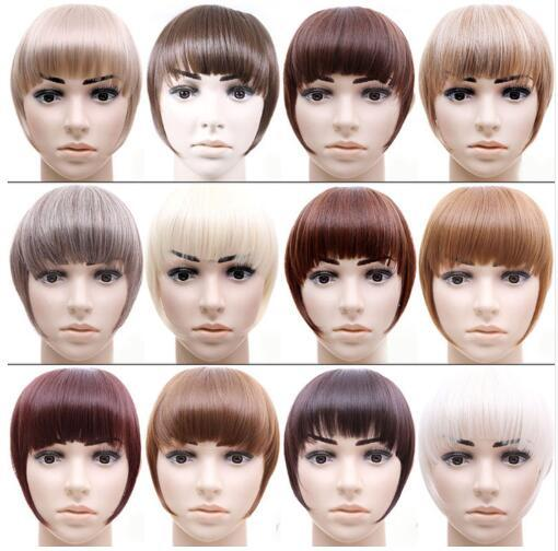 Short Front Neat bangs Clip in bang fringe Hair extensions straight Synthetic Natural hairpiece Blunt Bangs