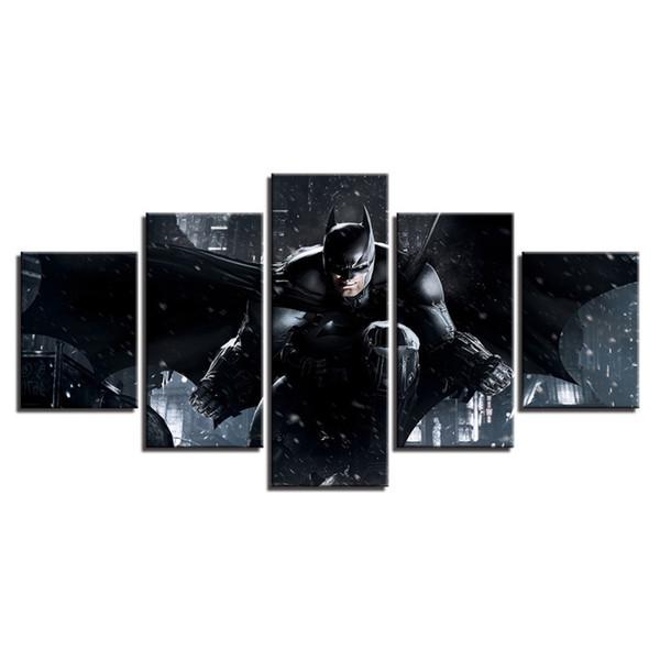 5 Pcs Combinations HD Superhero Cool Batman Bats Unframed Canvas Painting Wall Decoration Printed Oil Painting poster