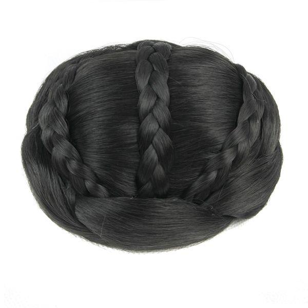 Synthetic wigs Black Brown Braided Chignon Clip In Hair Bun Donut Hair Roller Party Hair Accessories Headwear 6 Colors
