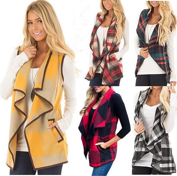 Mujeres solapa de la tela escocesa Cardigan bolsillo chaleco abrigo irregular cheque sin mangas chaqueta abierta frente blusa Outwear chaleco MMA1333