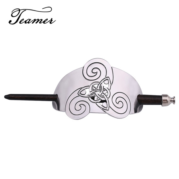 Fashion Jewelry Jewelry Teamer Silver Color Hair Sticks Wicca Hairwear Triple Spiral Celtics Knot Hair Accessories Religious Wood Hairdress