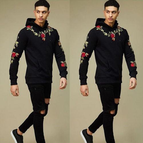 Fashion Hooded Men's Floral Hoodies 2018 New Winter Autumn Casual Floral Cotton Fashion Warm clothes Coat Outwear M-3XL