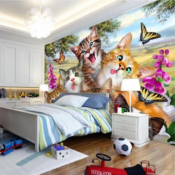Gato bonito papel de parede Pintados À Mão foto papel de parede 3D Poster Crianças Meninas quarto Pet shop sala de estar Sofá TV fundo Room Decor