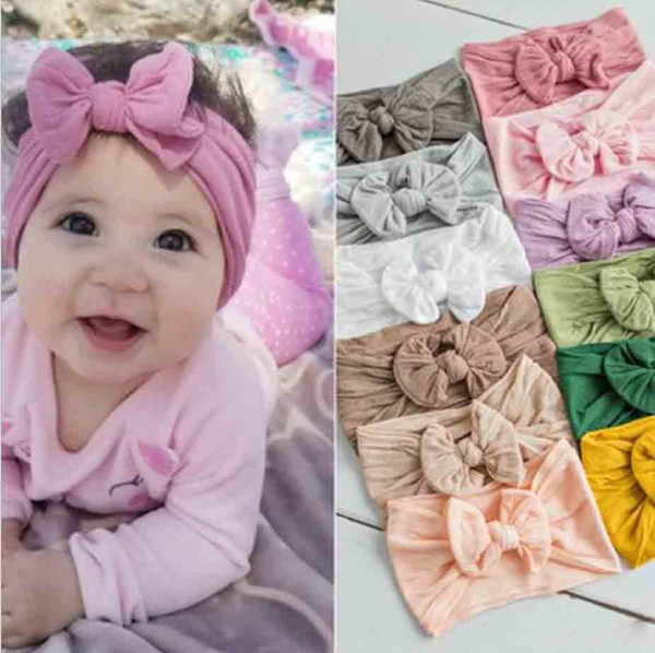 Hot selling Baby Headband Very Soft Nylon Bow Children's Hair Accessories Infant Lovely Princess Headband for Girl 23 Colors