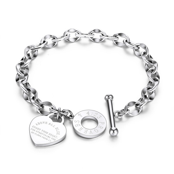 top popular 2020 Stainless Steel Bracelets Engraved Words Personalized Heart O Letter Love Bible Proverbs 4:23 Chain Bracelet Women Jewelry Gifts 2021