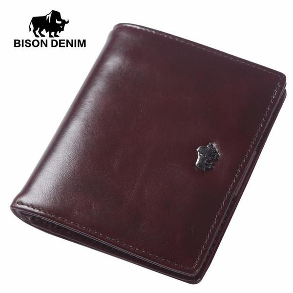 Wholesale- BISON DENIM Short Wallets For Men Genuine Leather Wallet Men Coin Pocket Card Holder Purse Mini Small Wallet Business Gift