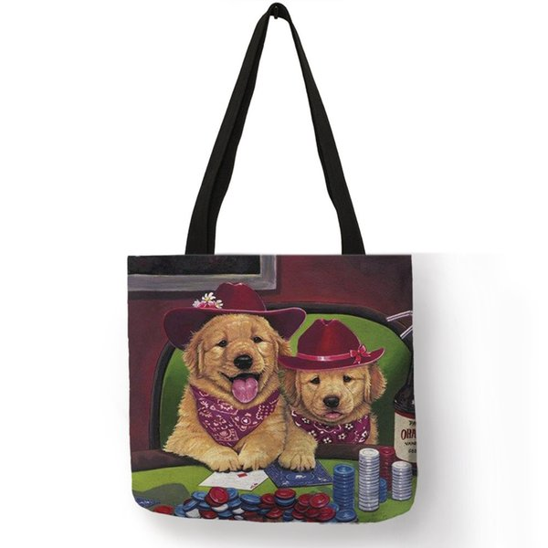 Custom Golden Retriever Oil Painting Print Tote Shopping Traveling Bags Women Practical Handbags