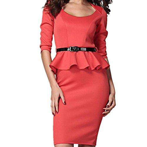 WIIPU womens pencil dress Long Sleeve Belted Peplum Midi Dress(J2-25)