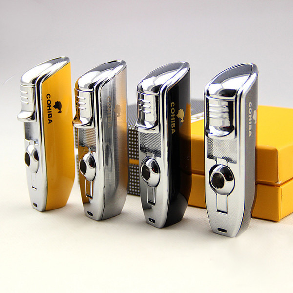 COHIBA Accessories Pocket Quality Metal Snake Mouth Shape Butane Gas Windproof 3 Jet Flame Lighter with Punch