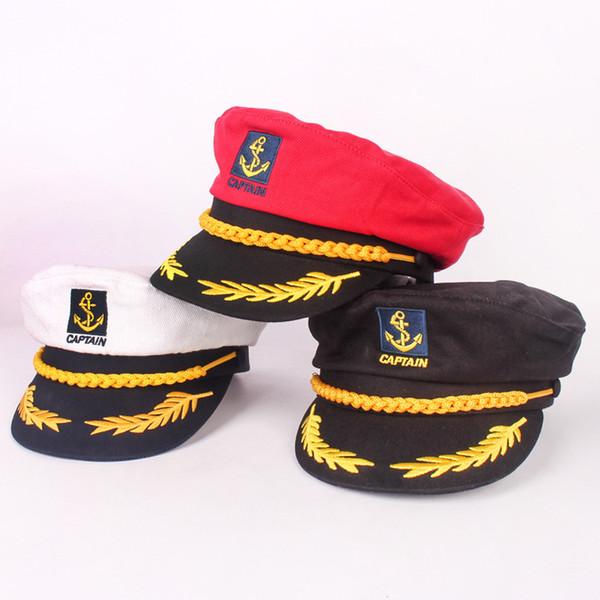 6aff7def3313 Compre Sombrero Azul Marino De Padres Y Niños Gorro De Moda De Algodón Rojo  Negro Blanco Clásico Capitán Hombres Y Mujeres Niños Marinero A $44.65 Del  ...
