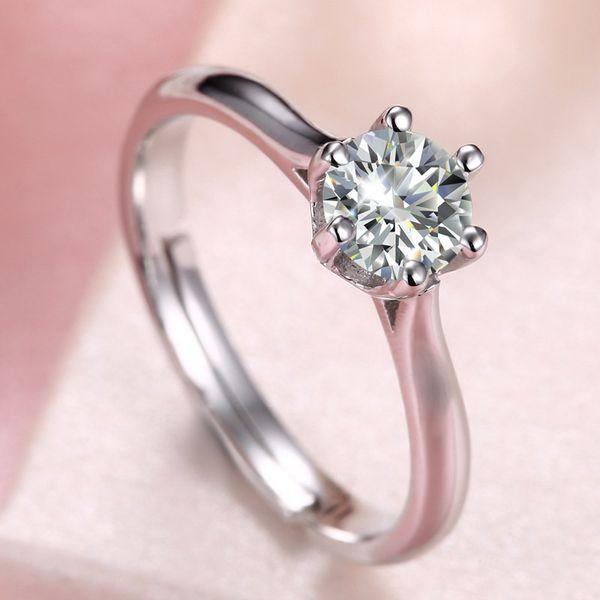 Sólido 925 Anel De Prata Para O Sexo Feminino, Anel de Prata Esterlina Com Brilhante Imitação 1 Carat Diamante (CZ) Tamanho Ajustável Anel