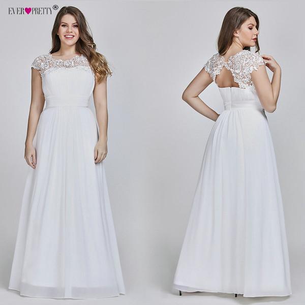 a599ddca39 Discount Ever Pretty Plus Size Elegant Lace Appliques Chiffon A Line White  Bride Gowns For Women Wedding Dress 2019 Vestido De Noiva Chiffon Wedding  ...