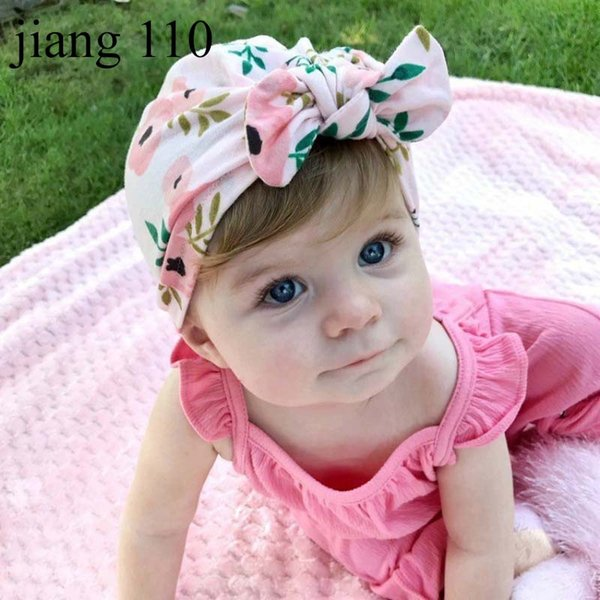 New Europe US Baby Hats Bunny Ear Caps Turban Knot Head Wraps Infant Kids India Hats Ears Cover Childen Floral Print Beanie H540