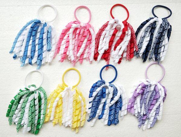 "20pcs 5"" Curly tassel gingham ribbon korker ponytail holders streamer corker plaid hair bows ties bobbles elastic accessories headwear PD027"