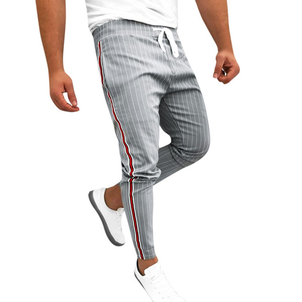 Cheville-Longueur Lin Pantalon À Carreaux Hommes Hip Hop Hommes Joggers À Rayures Patchwork Casual Cordon Pantalon De Survêtement Pantalon