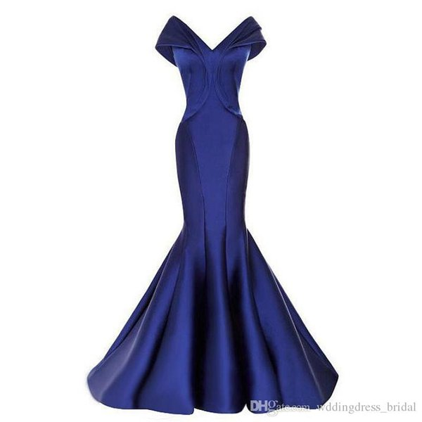 Royal Blue Mermaid Evening Dresses 2019 Off the Shoulder Zipper Sweep Train V Neck Pleated Cheap Prom Gowns Elegant Long Vestido De Festa