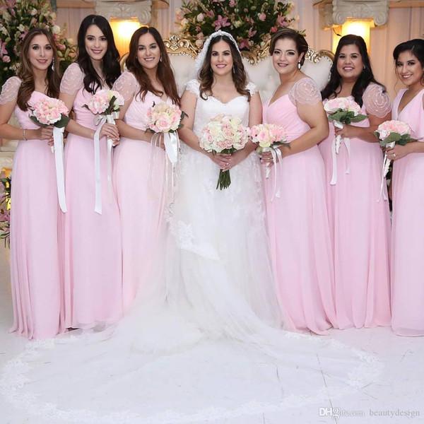 0c02b9474 2019 Nueva Blus Pink Cap Mangas Gasa Sirena Playa Vestidos de dama de honor  Vestido de fiesta Vestido de fiesta Vestido de fiesta Vestido de verano