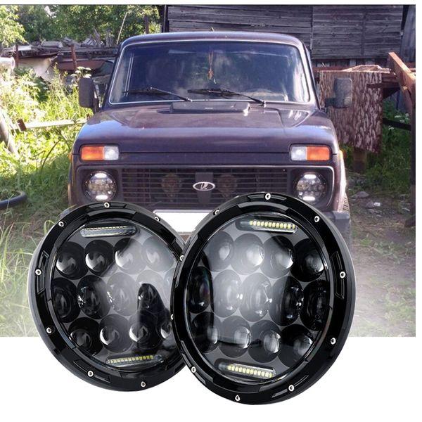 2x 75W 7 '' Led faros H4 alta baja haz coches redondos luces para Jeep Lada 4x4