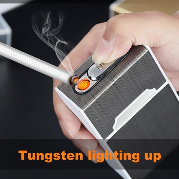 El consumo de cigarrillos caso de almacenamiento de envase de la caja del tirón del metal USB de bolsillo cigarrillos electrónicos cargados Los casos más claros paquete de tabaco cubierta Holder