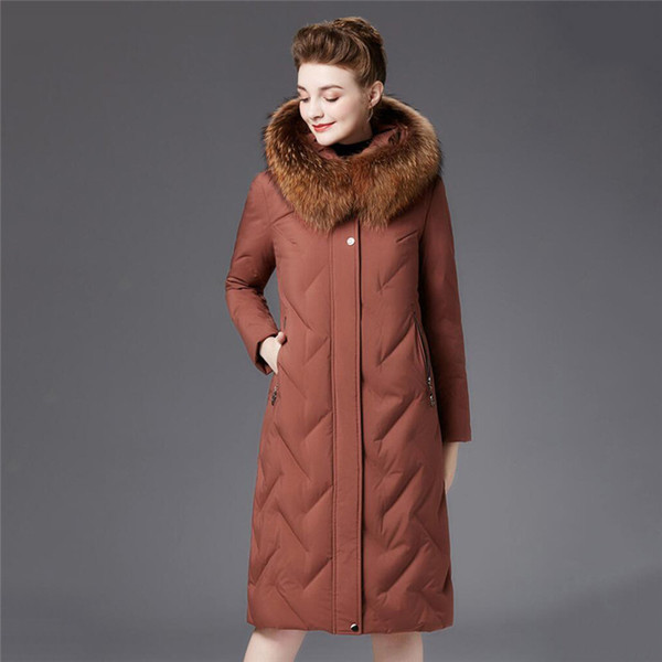 Women parkas 2018 Winter New Down Jacket High Quality Women Coats Fur Collar Hooded Elegant Large size Warm Outerwear X741