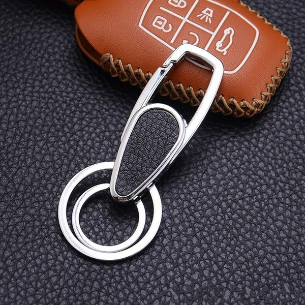 High Quality Mens High Quality Double Circle Keychain Silver Plated Metal Key Chain Car Keyring for Sale