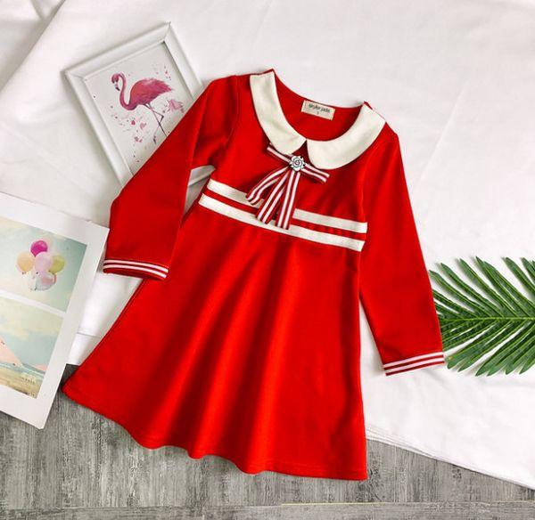 2019 Spring new girls cotton dress kids flower stripe Bows tie princess dress lady style children doll lapel long sleeve dress F2955