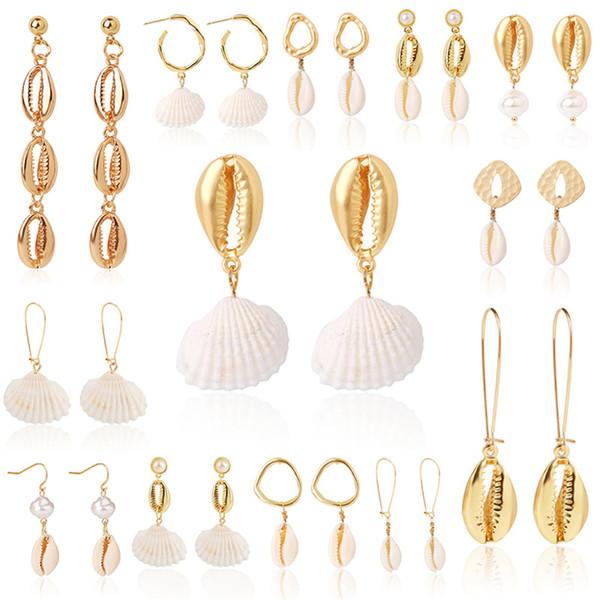 SOHOT Hot BOHO Plage Coquillage Naturel Conch Pendentif Femmes Cerceau Boucles D'oreilles Imitation Perle Accessoires Pour Bijoux D'été Bijoux