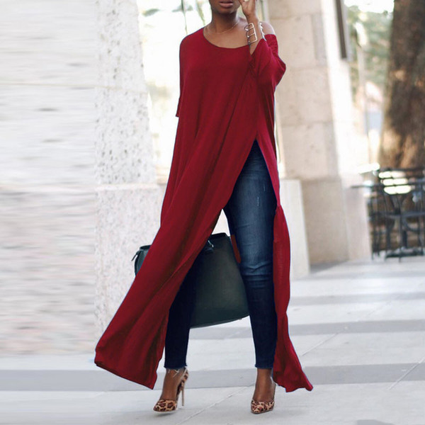 Frauen-Damen-lange Hülsen-beiläufige feste Blusen-Tunika-Oberseite Streetwear Side Split Sommer-Hemd-Frauen-Maxi Slit Tops