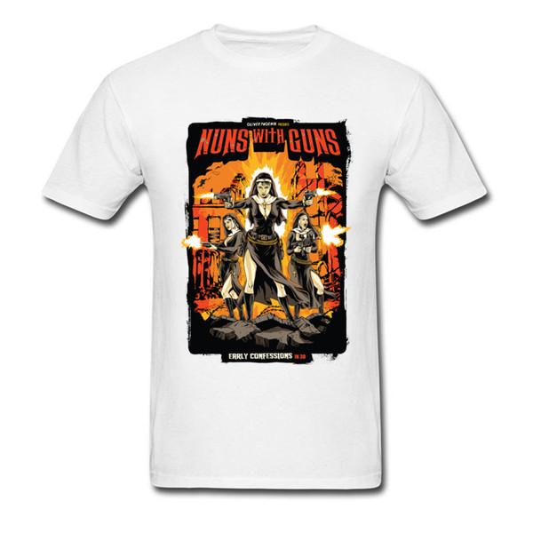 Camisetas Para Homens Freiras Com Armas Cartaz Bonito Gráfico Camisetas Amarelo Impressão Dos Desenhos Animados T-Shirt Para Adulto 100% Algodão Orgânico