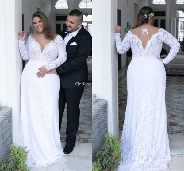 Bohemian Plus Size Long Sleeves Mermaid Wedding Dresses 2019 Sheer V Neck  Western Country Bridal Gowns Mariage Plus Size Robes De Mariée Plus Size ...