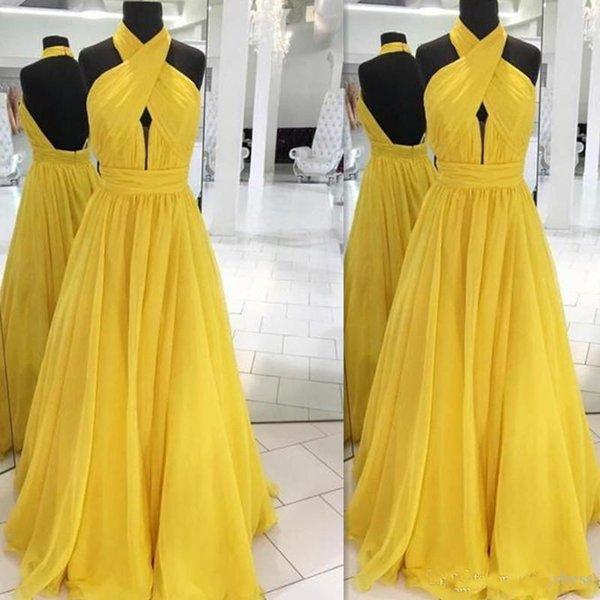 2019 Fashionable Halter Yellow Evening Dresses Backless A-line Chiffon Real Photo Prom Party Gowns Formal Long Floor Length Custom Made