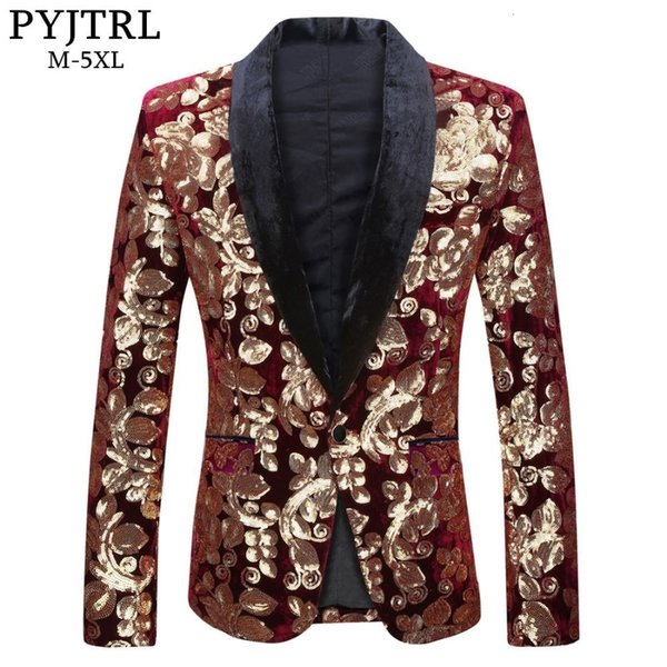 PYJTRL Male Fashion Shawl Lapel Wine Red Velvet Gold Flowers Sequins Blazer Plus Size 5XL Stage Clothes For Singers Suit Jacket SH190916