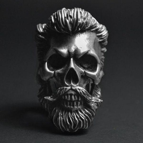 Vintage hommes gothiques 316L en acier inoxydable crâne barbu discothèque hip hop anneau pour punk gothique bijoux bague d'équitation taille 7-14