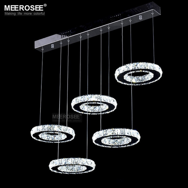 Good Quality Chrome Crystal Chandelier LED Lighting Diamond Ring Lamp Circle Stainless Steel Hanginglamp Light Fixture LED Lighting