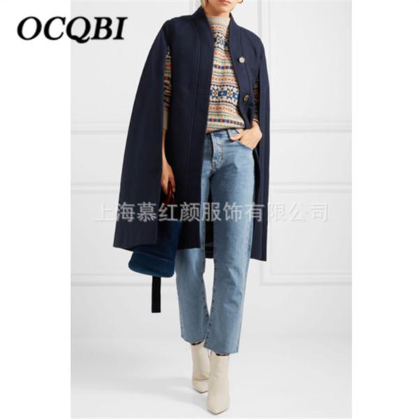 Winter Plus Size Women Wool Cape Coat High Street Fashion Casual Clothing 2019 Elegant Coats