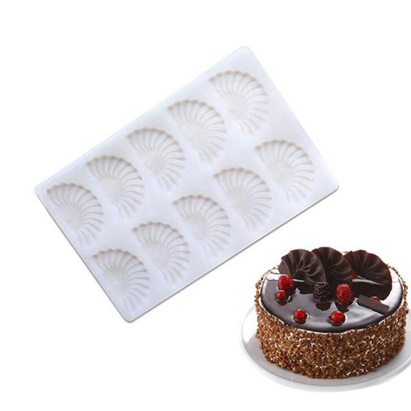 Silikon Çikolata Kalıp Fondan Kek Dekorasyon Kalıpları Için 3D DIY 10 Delik Sektör Çerez Kalıp Mutfak Pişirme Dekorasyon Aracı