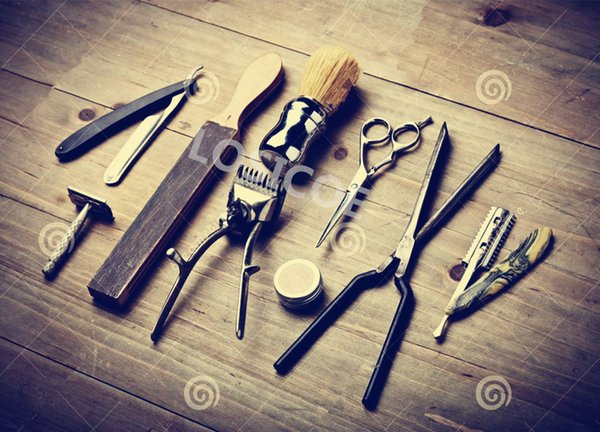 Barber tools Retro Tattoos Patterned Posters Kraft paper Interior Painting Wall Sticker restoring Wall Sticker Barber shop Wall decor
