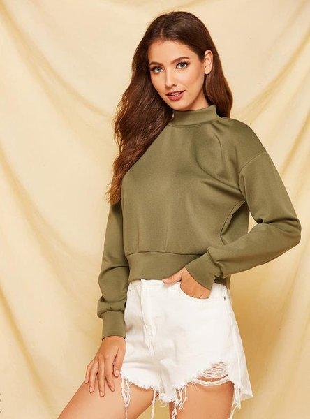 2019 moda mujer otoño e invierno nuevos conjuntos de ropa casual de color sólido cuello alto suéter de manga larga camisa de mujer