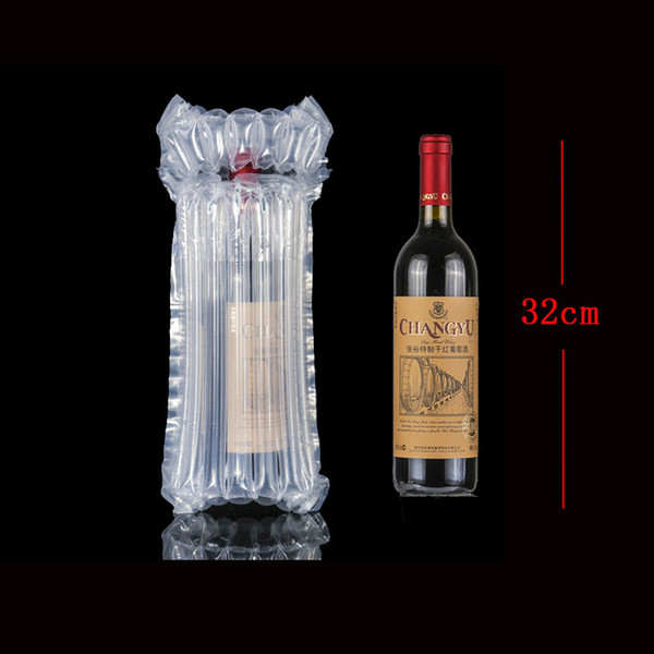 32x9CM 7 Columns Bottle Protector Wine Bottle Bag Portable Inflatable Air Packaging Bubble Bag Cushioning Wrap Travel Accessory Pack